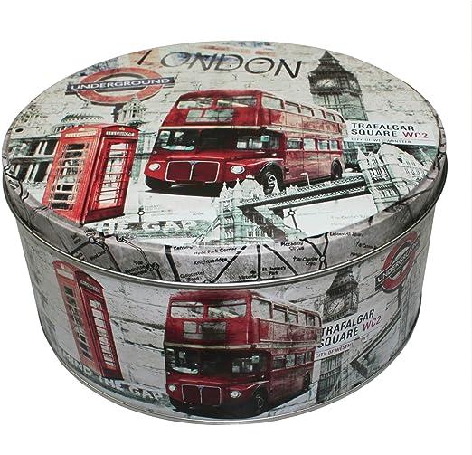 Vintage Caja de metal City Bote Retro lata caja lata de metal diseño Paris/London, metal, Londres, 16,5 cm x 7,5 cm: Amazon.es: Hogar