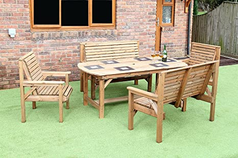 Brilliant Wooden Garden Furniture Patio Garden Set 6Ft Table 2 Benches And 2 Chairs Bralicious Painted Fabric Chair Ideas Braliciousco
