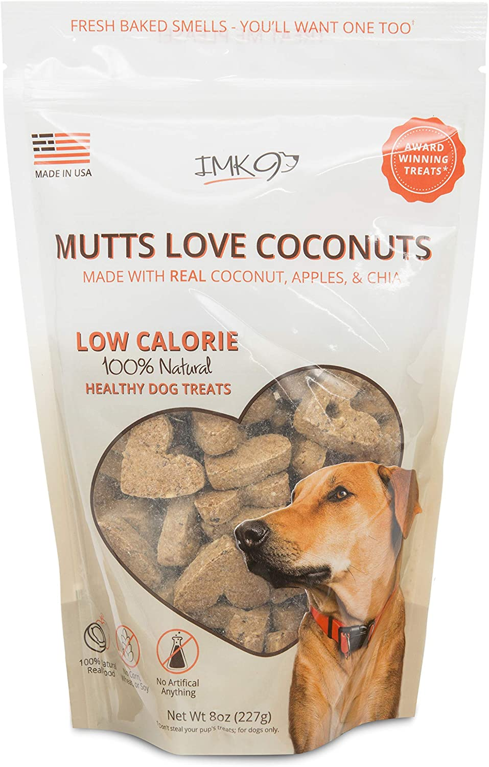 IMK9 Natural Training Treats Low Calorie - Limited Ingredient Made in USA - Organic, Healthy, Balanced, Diet Treat Bag for Dogs, Small Puppy, Big Pets - Grain, Gluten Free - Apples, Coconut