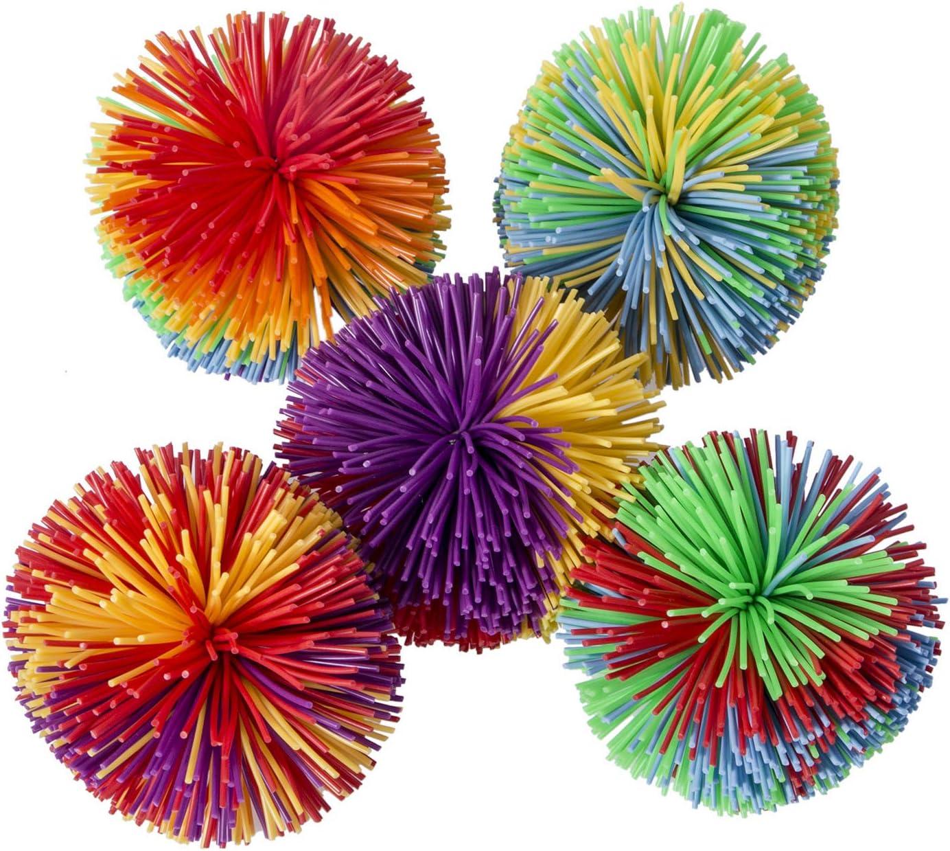 Hibery 5 Pack Monkey Stringy Balls, Soft Stress Balls Monkey Balls, Sensory Fidgets Toys, Rainbow Pom Ball, Colorful Bouncy Ball / Stress / Sensory Toy