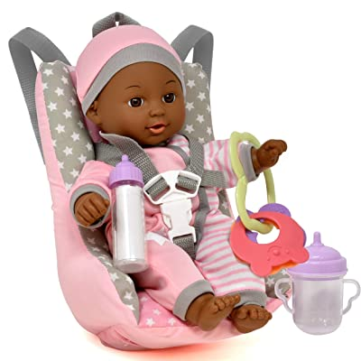 Baby Doll Car Seat with Toy Accessories, Includes 12 Inch Soft Body Doll, Booster Seat Carrier, Rattle Toy, Bib and 2 Bottles, A Travel Gift Set for Toddlers Infants Girls and Boys: Toys & Games