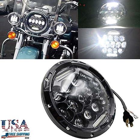 7 pulgadas 75 W bombillas LED Motocicleta Proyector Redonda H6024 de los faros 6000 K para
