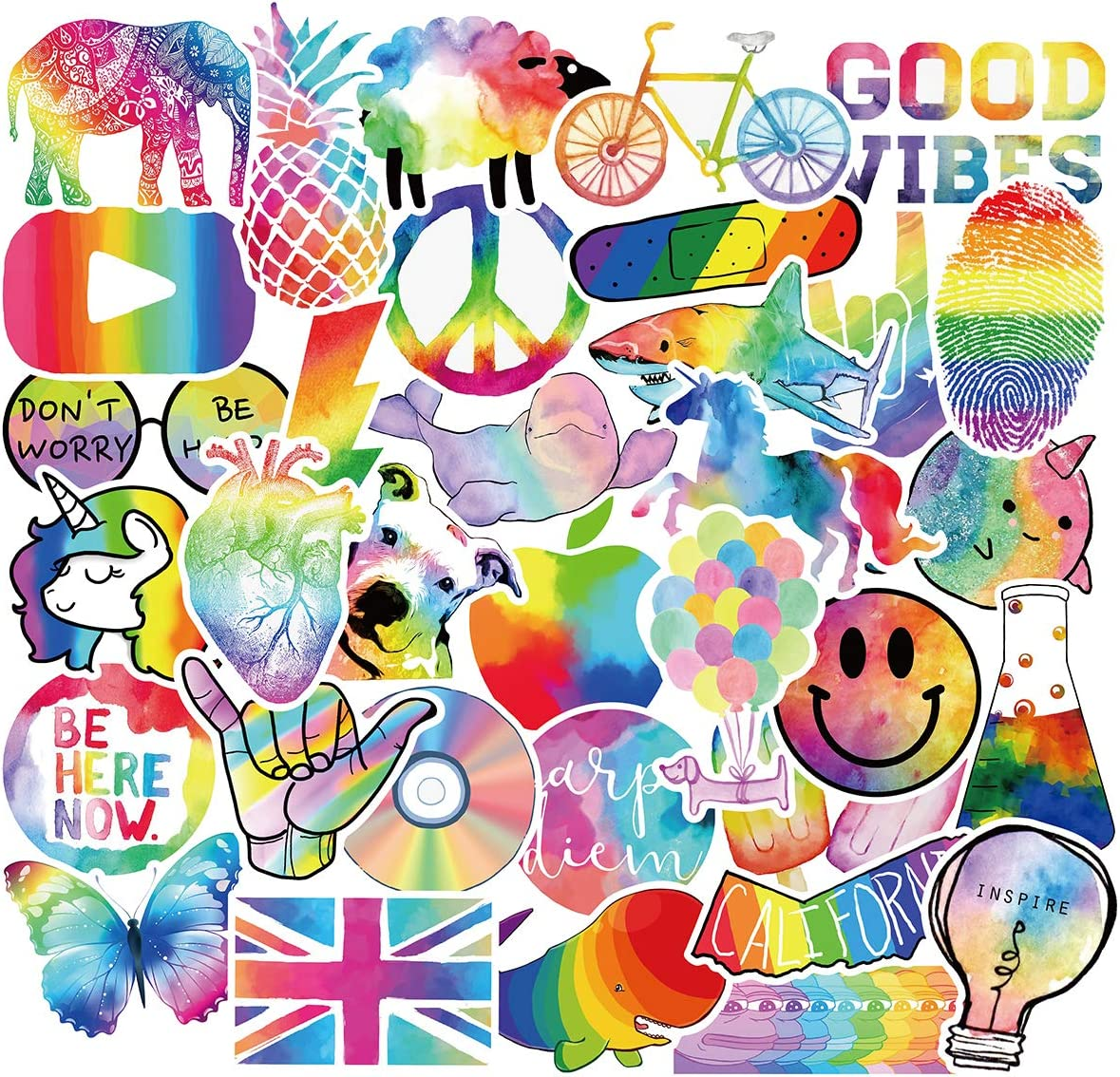 Cute Rainbow Stickers for Water Bottle Laptop, Kids Women Girls Teens Vinyl Stickers Symphony Rainbow Colorful Graffiti Aesthetic Sticker Decal (50pcs Rainbow Style)