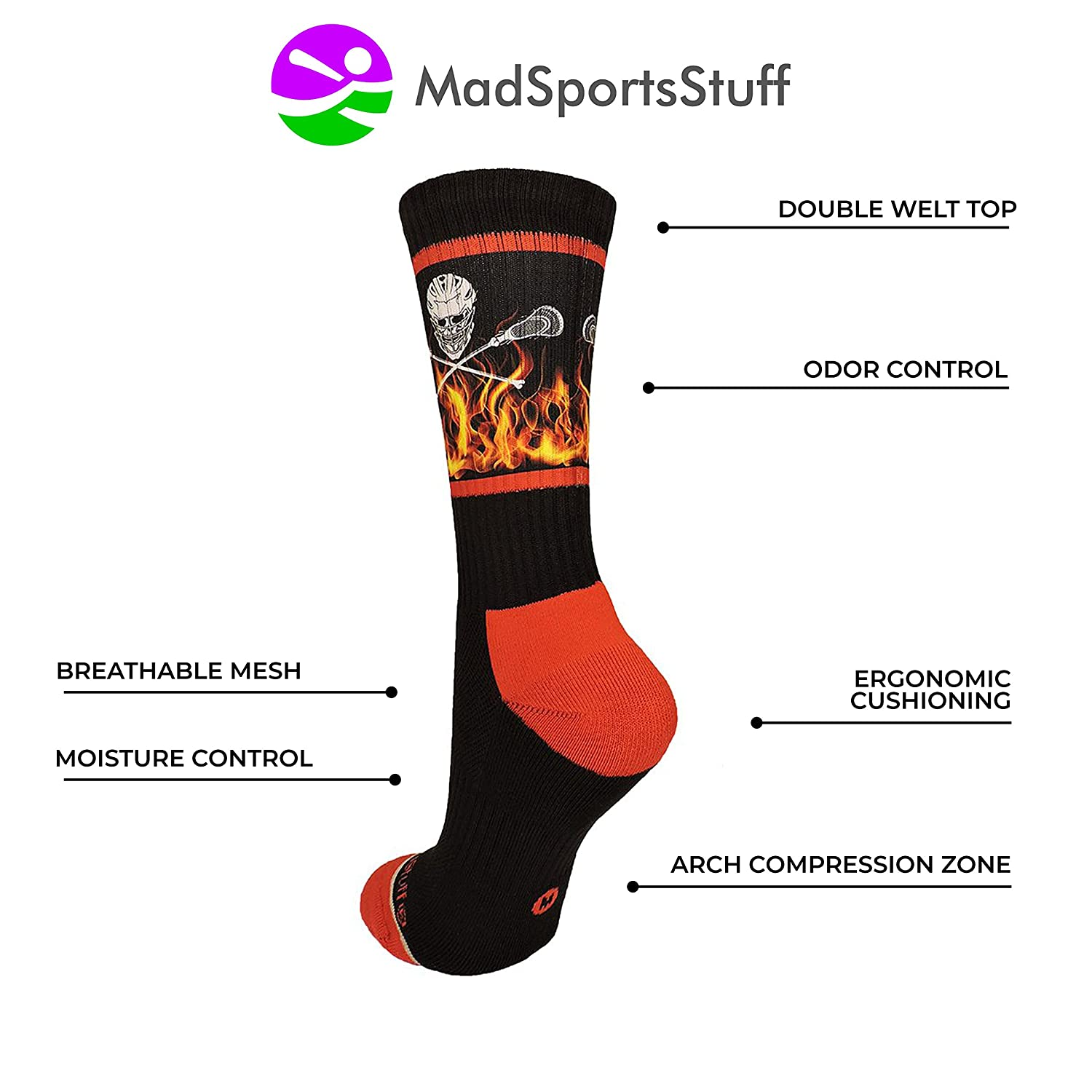 MadSportsStuff Lacrosse Socks with Lacrosse Sticks and Flaming Skull Athletic Crew Socks