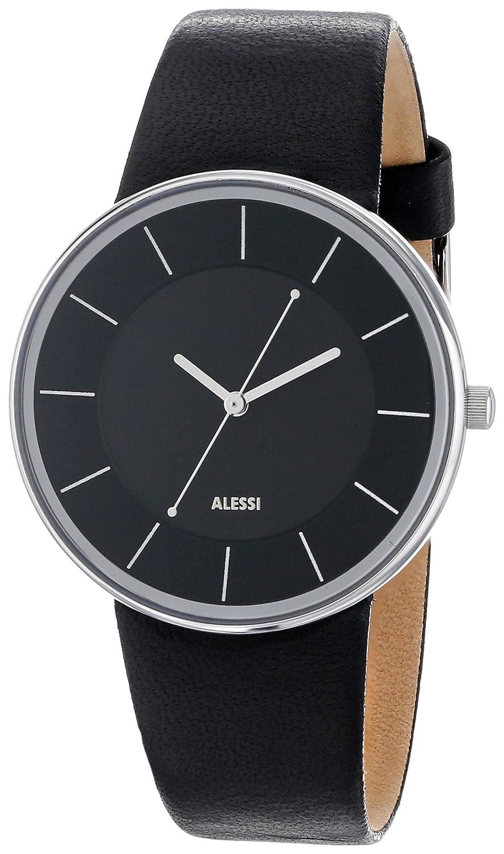 Alessi Armbanduhr Analog Quarz Leder schwarz AL8004