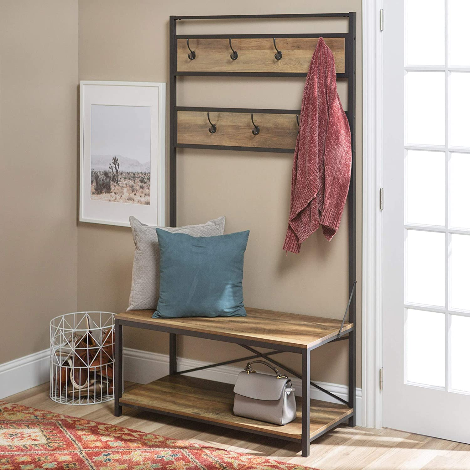 WE Furniture AZT72MWRO Farmhouse Entry Bench Mudroom Hall Tree Storage Shelf Coat Rack, 72 Inch, Brown Reclaimed Barnwood