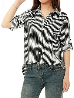 1f8cc8c569 Allegra K Women's Vertical Stripes Button Down Roll-up Long Sleeves Lapel Collar  Shirt