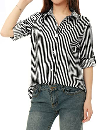 01c873884961 Allegra K Women's Vertical Stripes Button Down Long Roll up Sleeves Shirt  Black XS (US