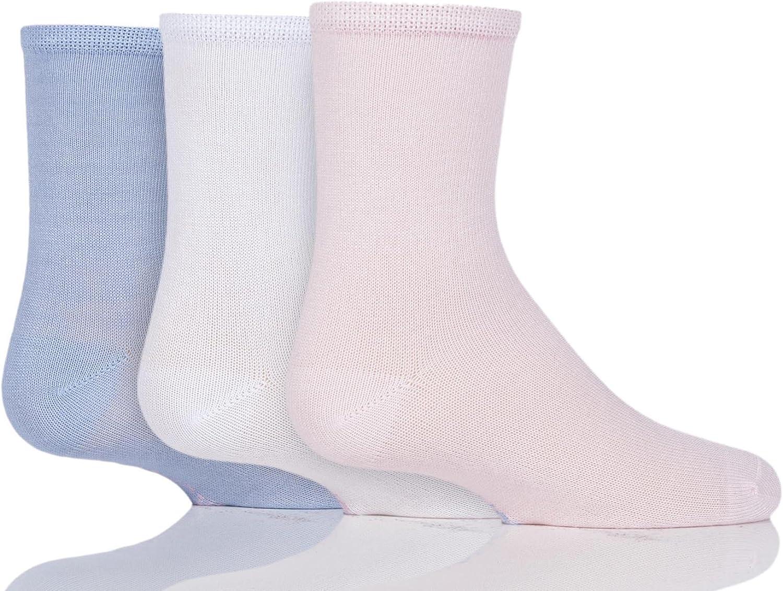 Kids 3 Pair SockShop Plain Bamboo Socks 6-8.5 Kids Pink//White//Blue 1-4 Years