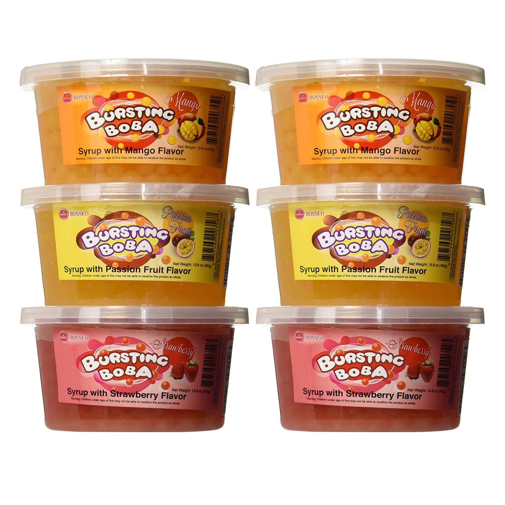 Bursting Popping Boba 3 Flavor Fun Pack 6 Pack - 2 Mango 2 Passion Fruit 2 Strawberry Bursting Boba by Bossen