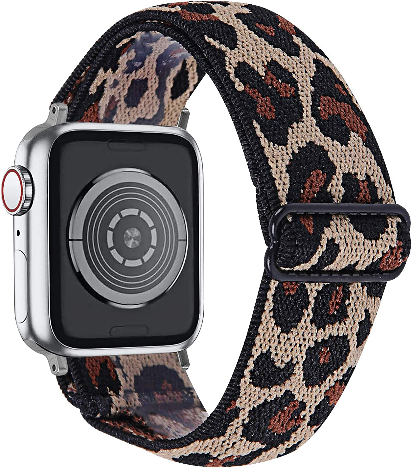 MEFEO Adjustable Elastic Bands Compatible with Apple Watch Bands 38mm 40mm 42mm 44mm, Soft Stretch Bracelet Replacement for iWatch Series 6/5/4/3/2/1 & SE Women Girls (Leopard, 38mm/40mm)