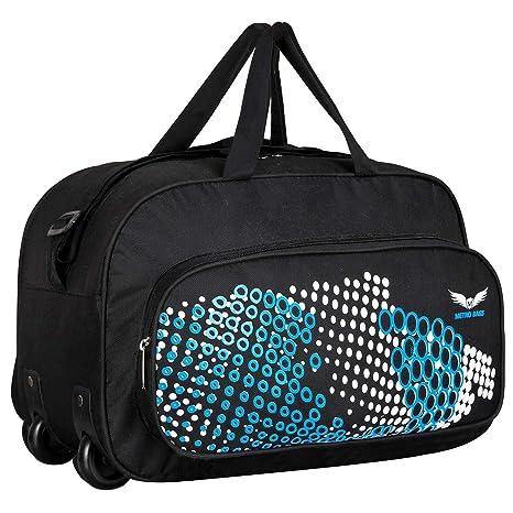 Metro Bags Polyster 18 inch Travel duffels Nylon Expandable Duffel Strolley Bag Black Medium Size Bag for Short Trips