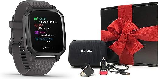 Garmin Venu Sq (Shadow Gray/Slate) Gift Box Bundle | 2020 Model | +PlayBetter USB Car/Wall Adapters & Protective Hard Case | Bright Square Screen & Wrist-Based HR | Fitness GPS Smartwatch