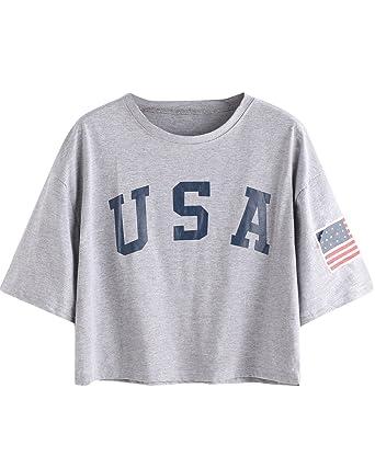 d079d6f4 SweatyRocks Women's Letter Print Crop Tops Summer Short Sleeve T-shirt  (X-Small