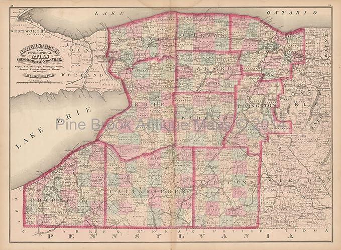 Counties New York Map.Erie Niagara County New York Antique Map Asher Adams 1870 Original