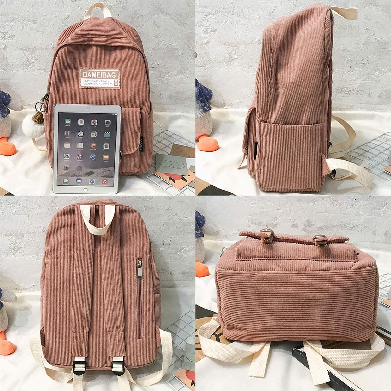 YY Cherry Stripe Cute Corduroy Backpack Kawaii Women School Bag Teenage Girl Backpack Harajuku Female Bag Student Lady Book,Brown,L28Cmw14Cmh42Cm