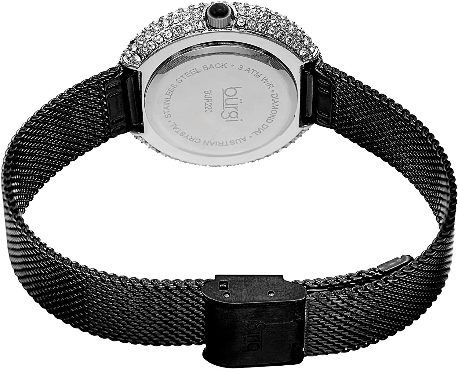 Burgi Swarovski Crystal Women's Watch - A Diamond Hour Marker on Accented Stainless Steel Mesh Bracelet Wristwatch - Perfect for Mother's Day - BUR220 Jet Black