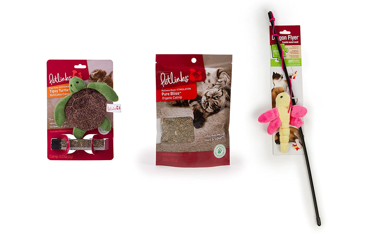 Petlinks 3 Count Refillable Catnip Toy Catnip & Wand Toy for Cats