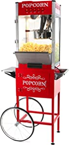 Paramount 16oz Popcorn Maker Machine & Cart - New 16 oz Hot Oil Commercial Popper & Stand [Color: Red]