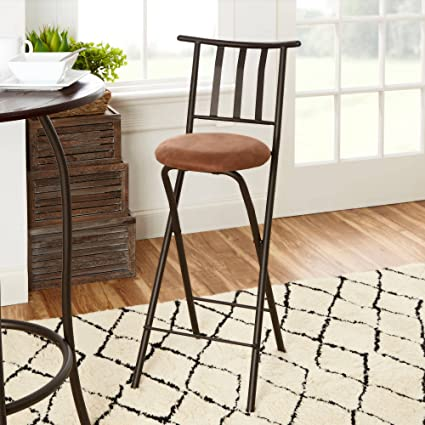 Amazoncom Slat Back Folding 30 Barstool Bronze With Beige