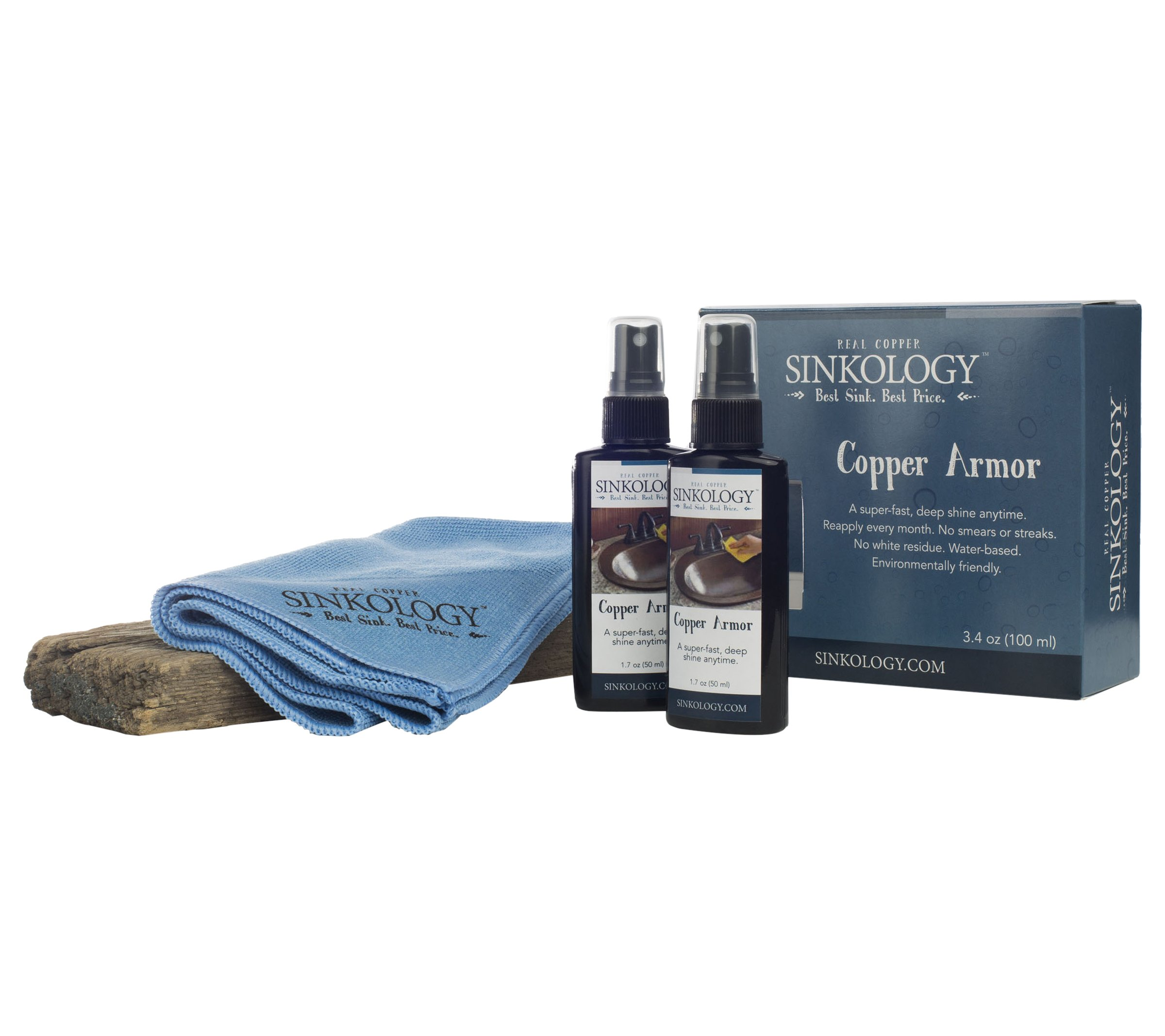 Sinkology SARMOR-101 copper Armor Care Kit, Spray Wax and Microfiber Cloth