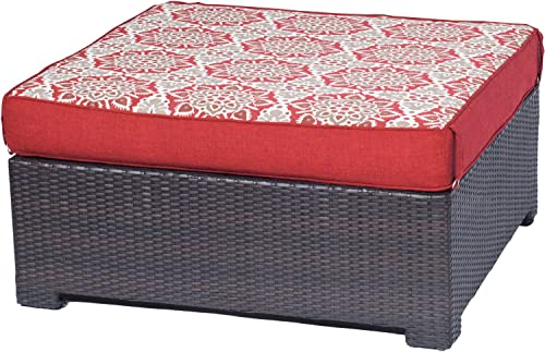 Hanover METMNOTT-RED Metro Mini Ottoman and Reversible Cushion Brown Frame