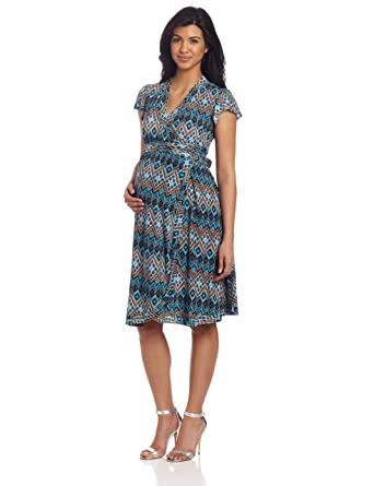 5aef28b54a403 Everly Grey Women's Uma Maternity and Nursing Flutter Sleeve Wrap Dress,  Palermo Print, Medium