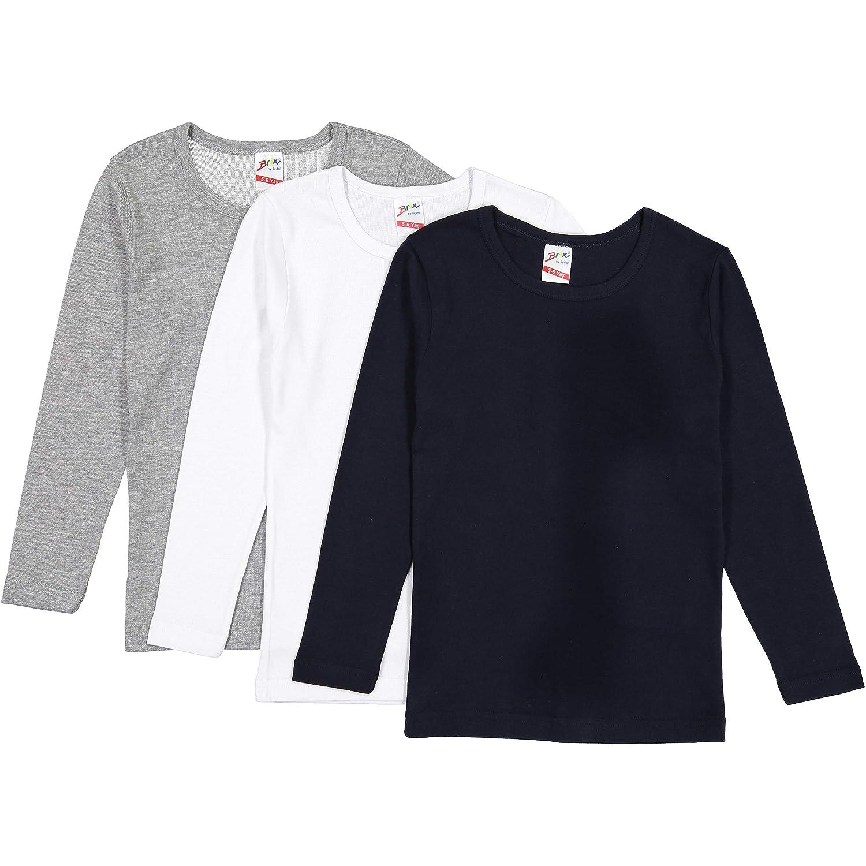 Boys' Long Sleeve Cotton Tees – Crew Undershirt Super Soft 3 pk Tee Shirts.