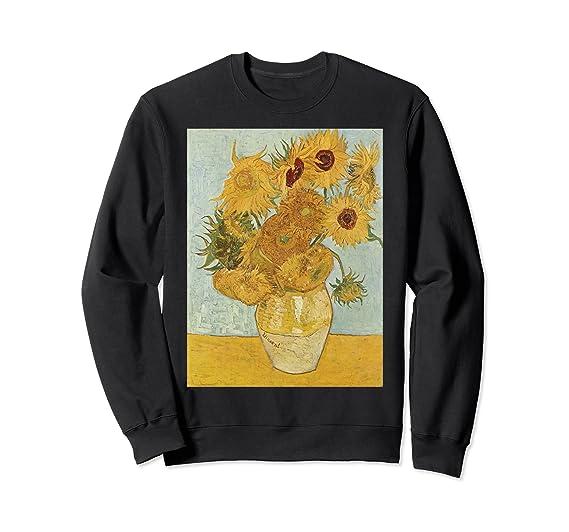 2cfaf2a8dee4b Amazon.com: Vincent van Gogh's Sunflowers Retro Sweatshirt: Clothing