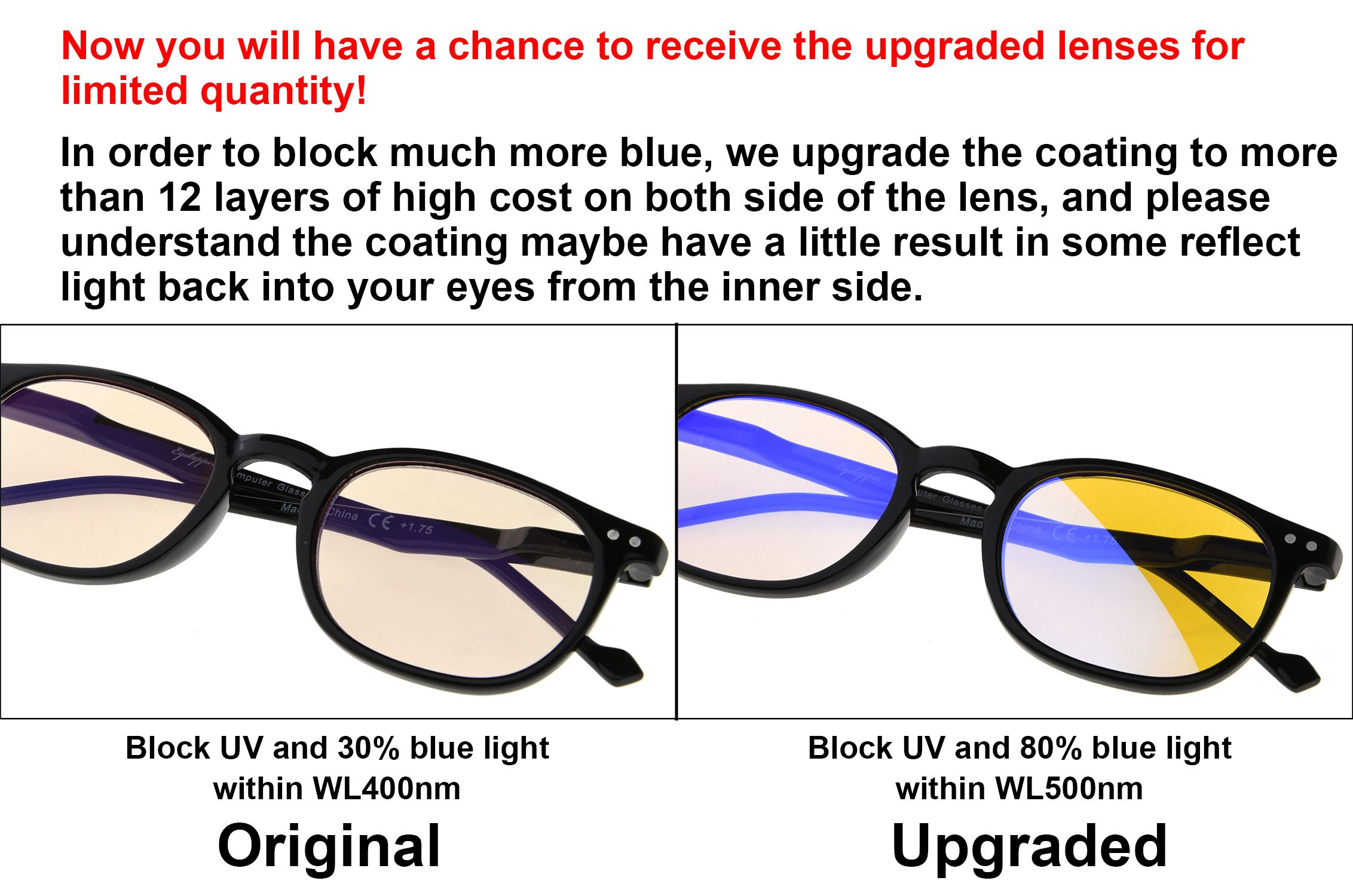 Eyekepper Vintage UV Protection Reading Glasses with Anti reflective Coating 0.50 Strength Readers(Amber Tinted Lens-Transparent) by Eyekepper (Image #4)