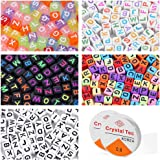 KINGYAO Letter Beads for Jewelry Making Supplies Alphabet Beads for Kids Kandi Beads 750 Pieces 5 Colors Bead Accessories for Jewelry Making with 2 Beading Cords