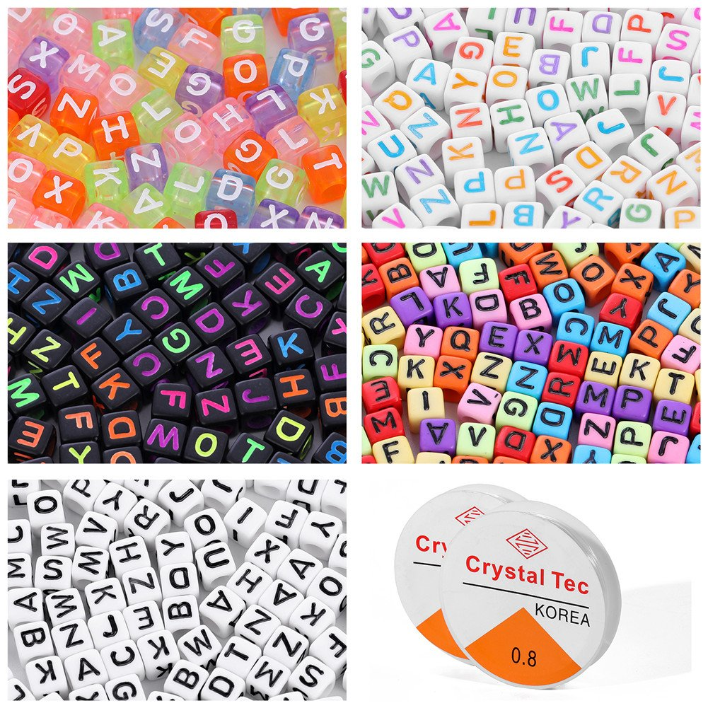 7x4mm 1900pcs 7 Colors Round Letter Beads Acrylic Alphabet Number Beads with 1 Roll Elastic Crystal String Cord for Jewelry Making DIY Necklace Bracelet