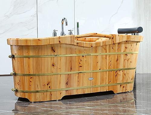 ALFI brand AB1136 61-Inch Free Standing Cedar Wood Bath Tub