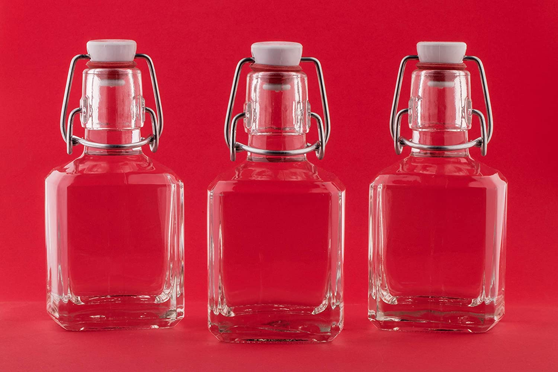 slkfactory 8x vacío Botellas de Cristal 200ml con Cierre de Soporte Soporte Swing 0.2litros 20cl Botella de Licor Botellas Tapa basculante 250ml batido Botella