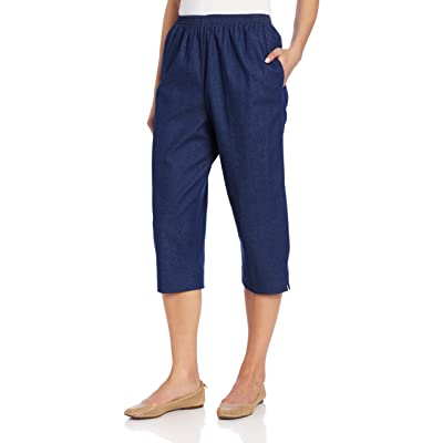 Alfred Dunner Women's All Around Denim Missy Capris Pants-Elastic Waist Jeans at Amazon Women's Jeans store