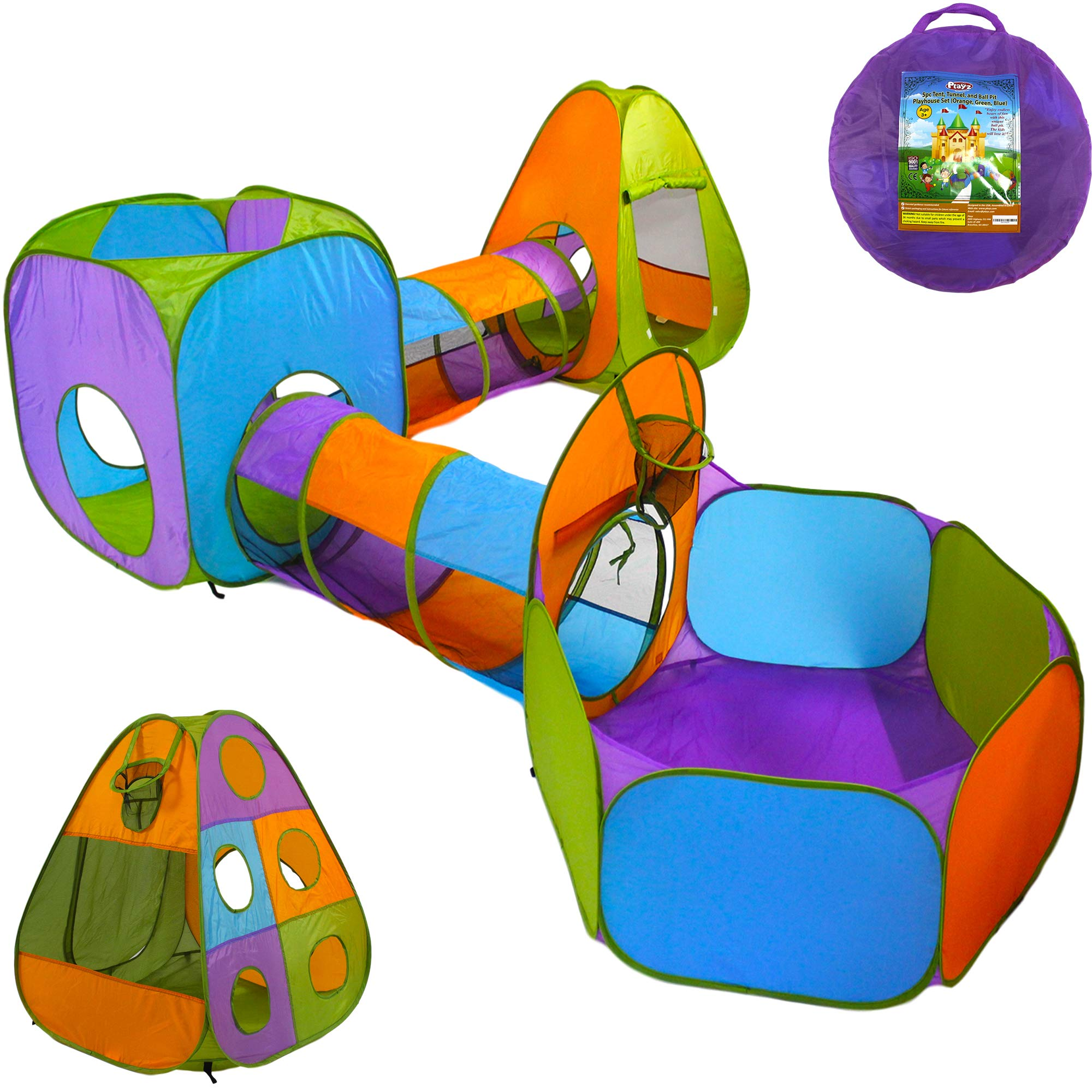 Playz 5-Piece Kids Pop up Play Tent Crawl Tunnel and Ball Pit with Basketball Hoop Playhouse for Boys, Girls, Babies, and Toddlers (Purple, Orange, Yellow, Red, Blue) by Playz