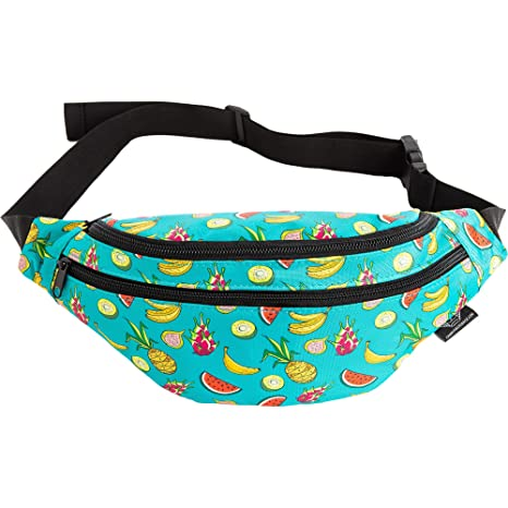 49346ea16744 Mochil Fanny Pack - Cute Waist Belt Bag for Men, Women, Kids | Fun Bright  Pattern for Beach, Hiking, Raves, Costume (Fruit Medley)