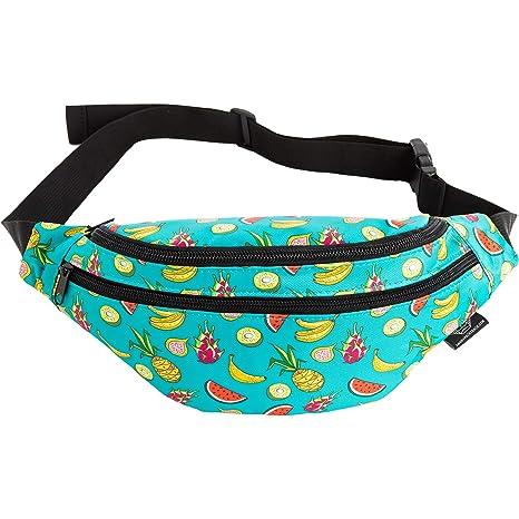 3324a866cc7b Mochil Fanny Pack - Cute Waist Belt Bag for Men, Women, Kids | Fun Bright  Pattern for Beach, Hiking, Raves, Costume (Fruit Medley)