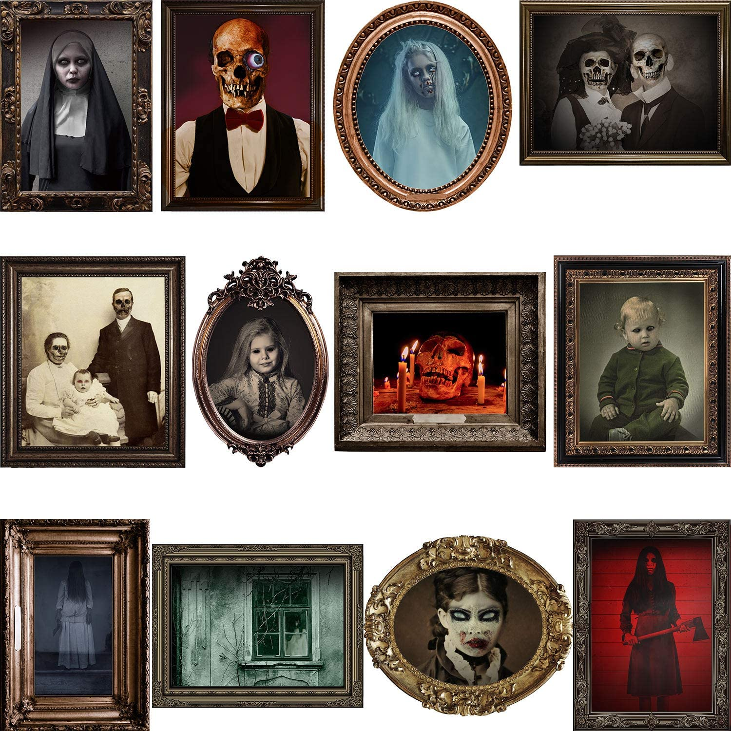 12 Pieces Halloween Gothic Party Decoration,Durable Halloween Haunted Gothic Creepy Portraits Posters Horror Picture with 120 Glue Point Dots for Halloween Horror Party Castle House Home Decoration