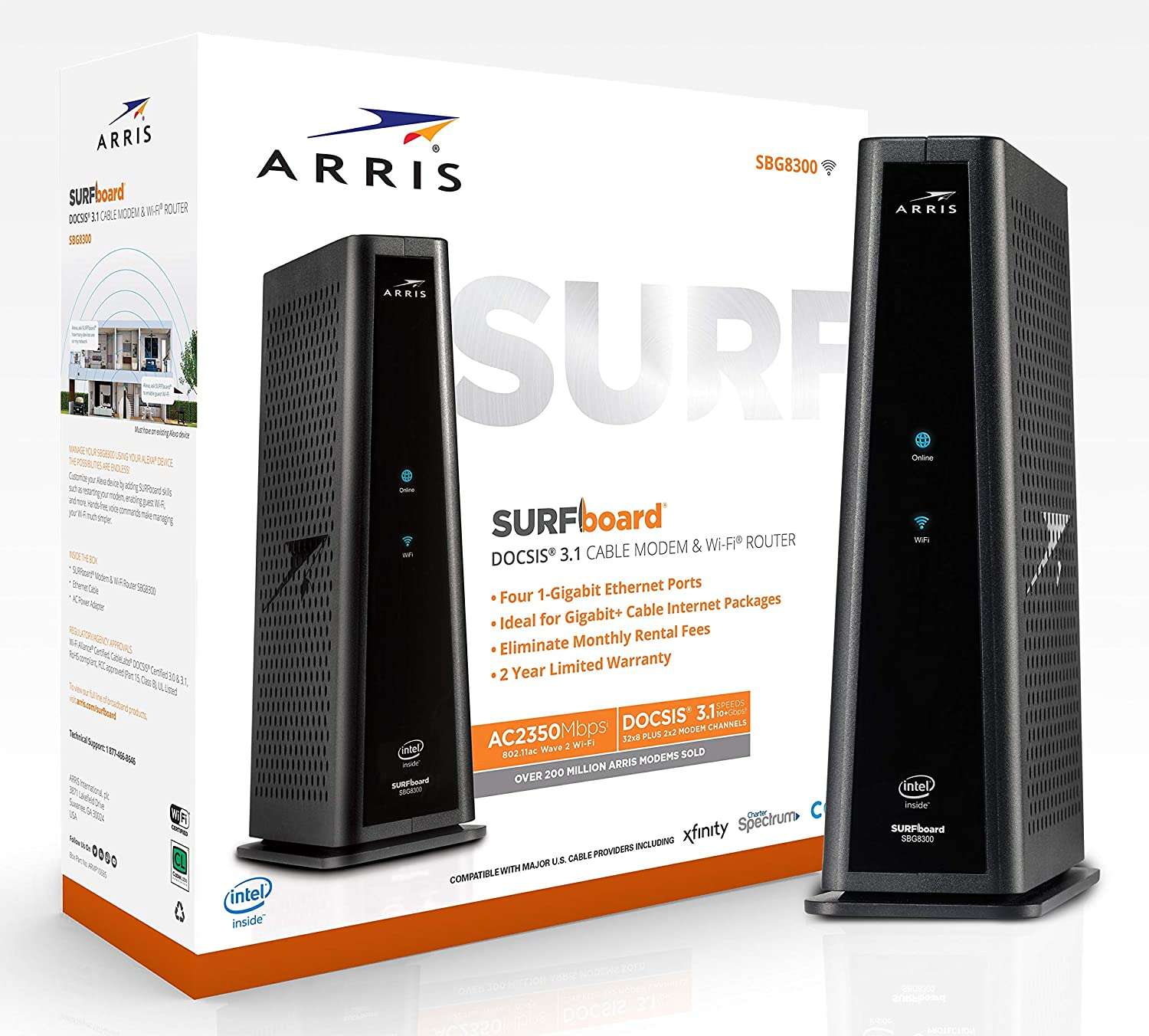 ARRIS SURFboard SBG8300 Best DOCSIS 3.1 Gigabit Cable Modem Router Combo & AC2350 Dual Band Wi-Fi Router, Approved For Cox, Spectrum, Xfinity & Others