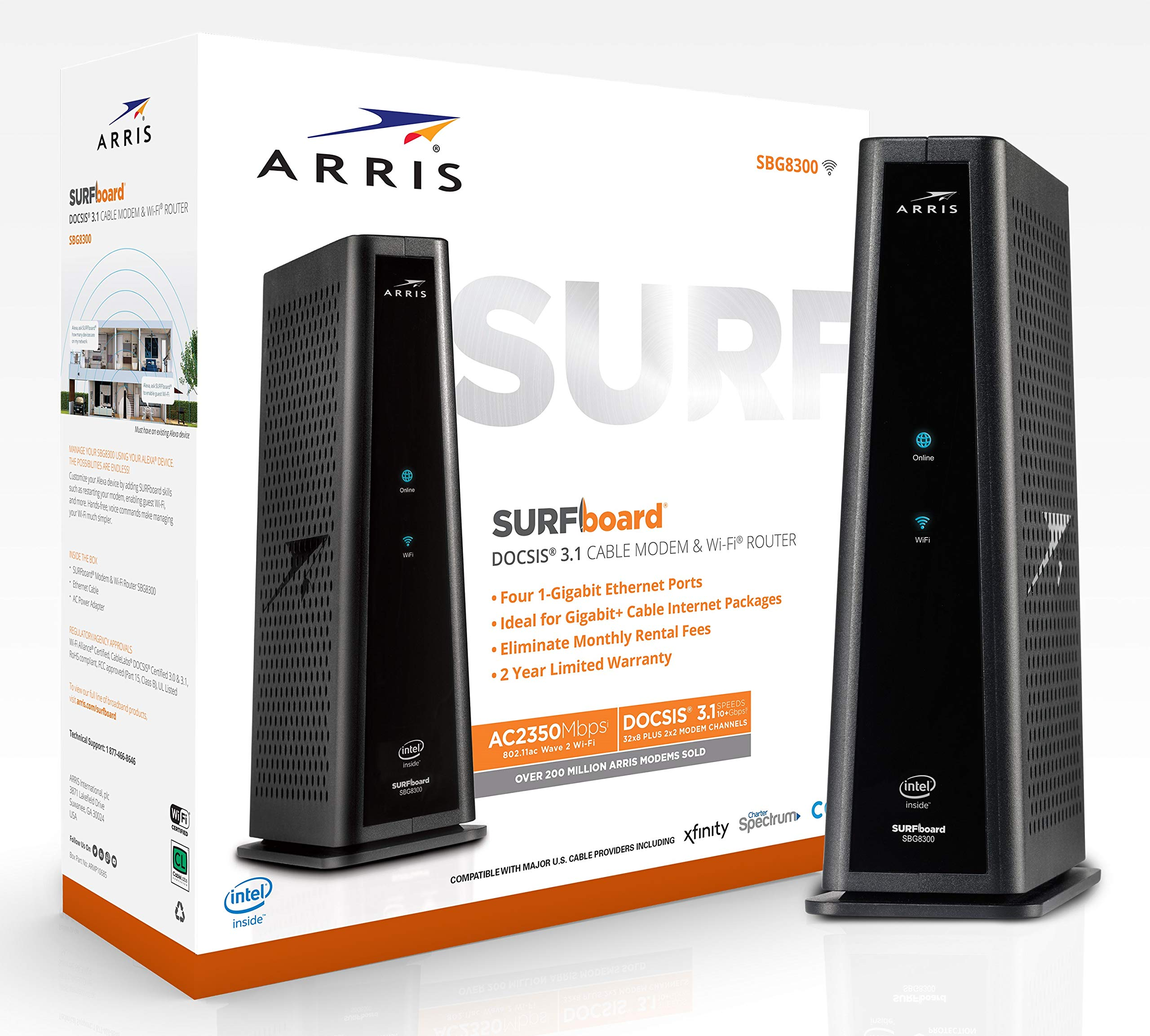 ARRIS Surfboard Docsis 3.1 Gigabit Cable Modem Plus AC2350 Dual Band Wi-Fi Router, Certified for Xfinity, and Cox 1 GB Service (SBG8300) by ARRIS