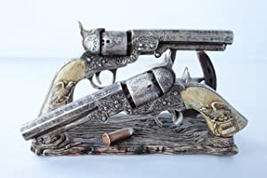 Western Cowboy Double Gun Pistol Bullet Horseshoe Envelope Holder Rustic Home Office Decor