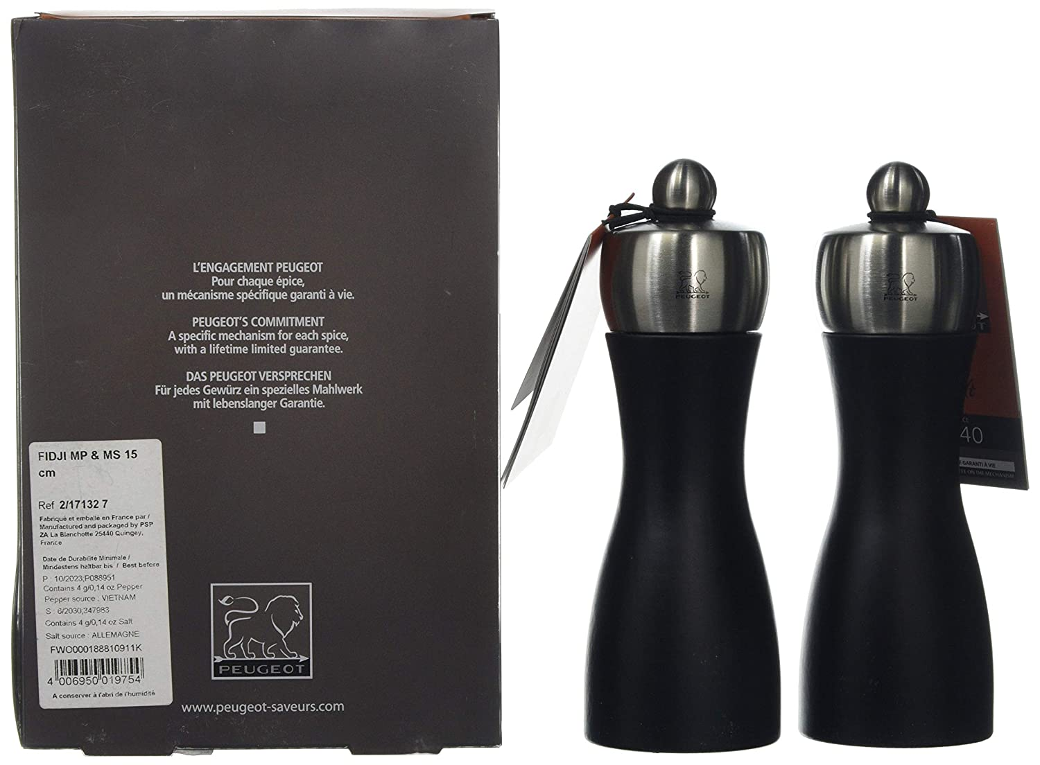 Amazon.com: Peugeot Fidji 6 inch Black Matte Salt/Pepper Mill Set: Peugeot Salt And Pepper: Kitchen & Dining