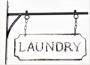 Silvercloud Trading Co. Rustic Hanging Double-Sided Laundry Embossed Black on White Enamel Metal Sign with Bracket - Mudroom Wall Decor - Room Label