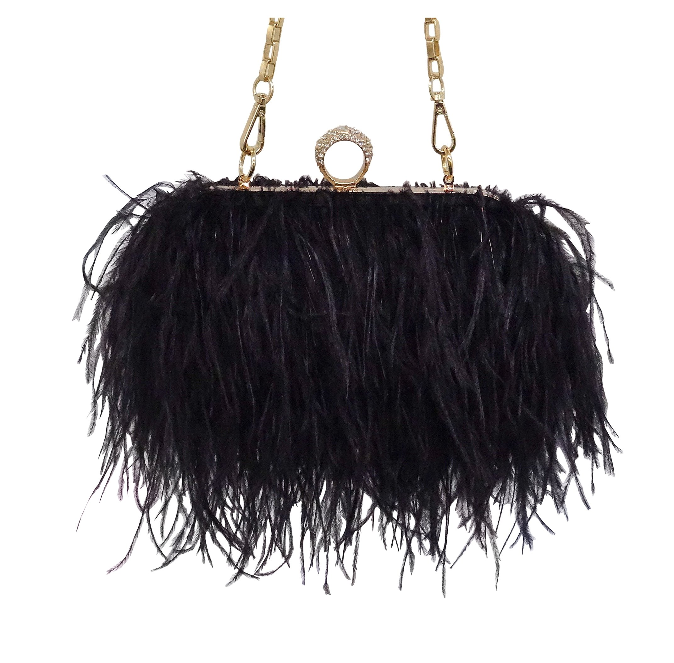Zakia Real Natural Ostrich Feather Evening Clutch Shoulder Bag Party Bag (black)