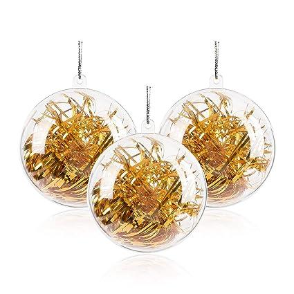 04b34e4d7 ZOGIN 20pcs 80mm Clear Transparent Ball Christmas Tree Ball Ornaments DIY  Fillable Ball Plastic Baubles: Amazon.co.uk: Kitchen & Home