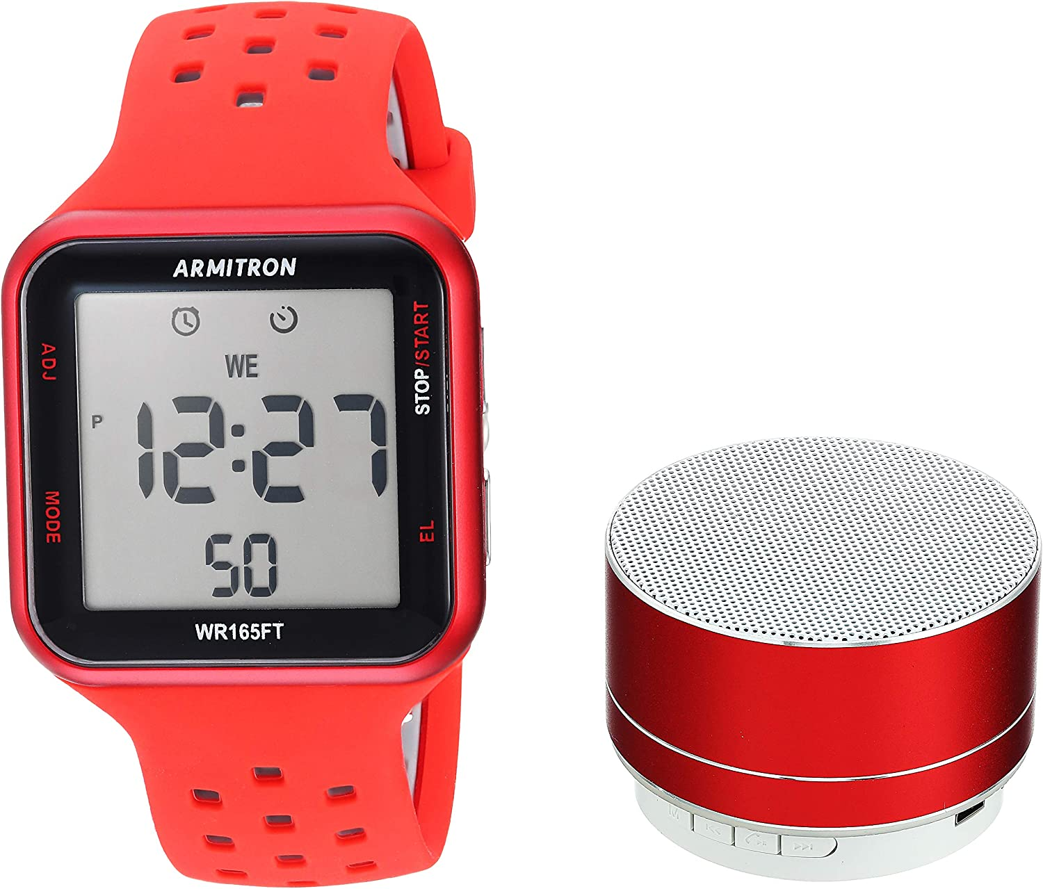 Armitron Unisex Sport Accented Digital Chronograph Silicone Strap Watch and Mini Bluetooth Speaker