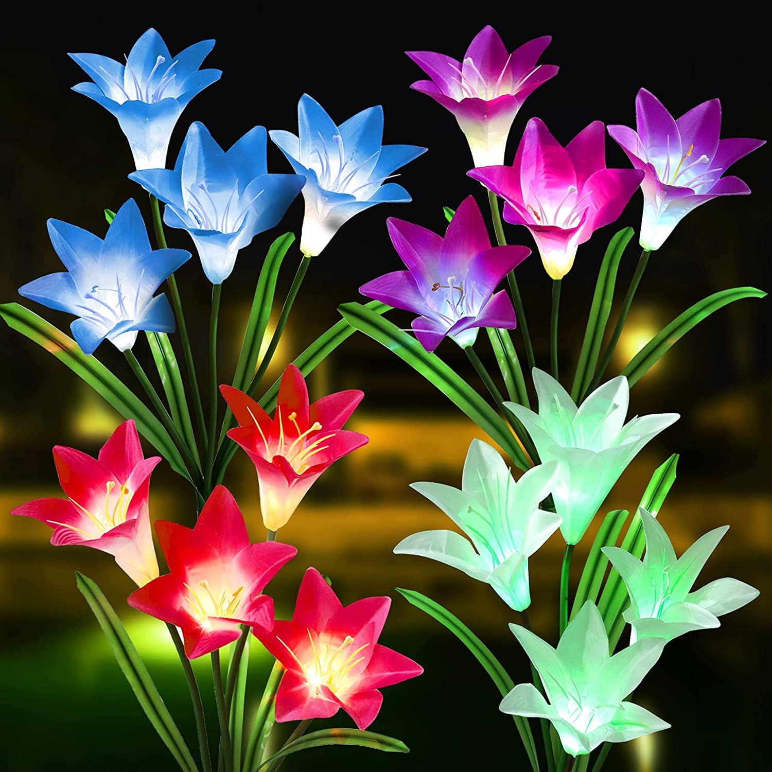 Outdoor Solar Lights, 4 Pack Solar Garden Lights with 16 Bigger Lily Flowers, Waterproof 7 Color Changing Outdoor Lights - Bigger Solar Panel for Garden Patio Yard Pathway Decoration