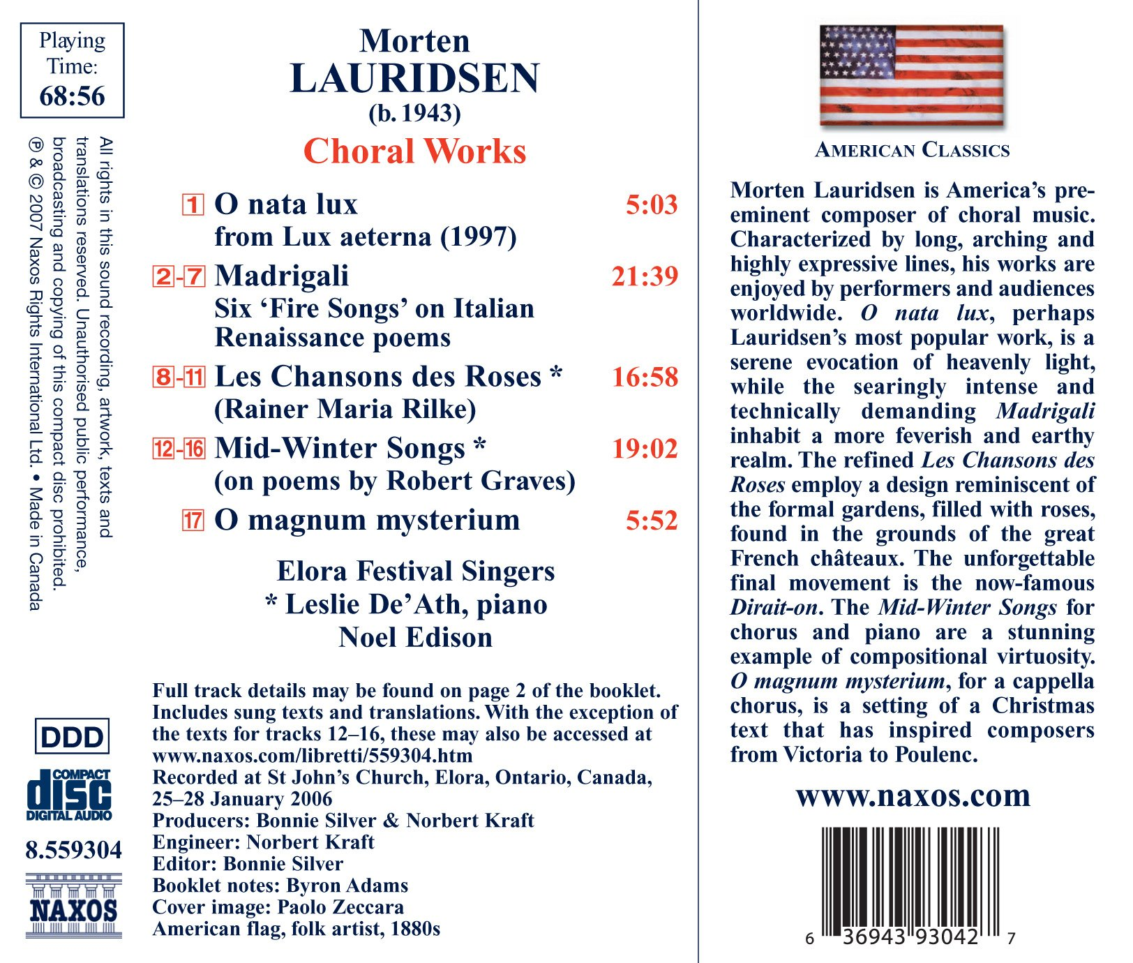 Lauridsen: O magnum mysterium; O nata lux; Madrigali; Mid-Winter Songs