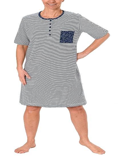 Normann Damen Nachthemd kurzarm in eleganter Streifenoptik 181 214 90 881